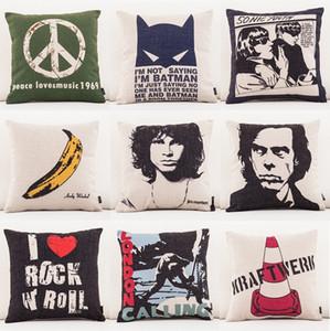 Peace Love Music 1969 Funda de Cojín 10 estilos Banana London Calling Rock Music Algodón de lino Throw Pillow Case Sofá