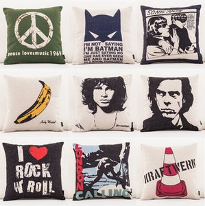 Peace Love Music 1969 Cushion Cover 10 styles Banana London Calling Rock Music Thick Linen Cotton Throw Pillow Case Sofa Decor