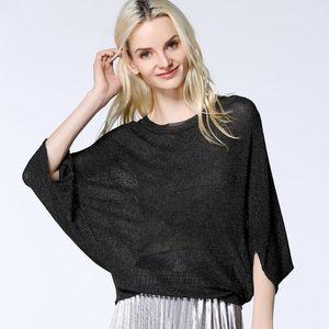 Pop2019 costume-robe manches chauve-souris laine printemps xiachunshai pull autour du cou mince tricotant vêtement supérieur non doublé