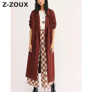 Z-ZOUX Women Trench Coat Long SLeeve Double Breasted Women Windbreaker Solid Temperament Thin Trench Loose Long Overcoat