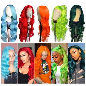 Brazilian Body Wave Lace Front Wigs 150% Density Blue Red Pink 99j Colorful Remy Human Hair 13x4 Lace Front Wig Pre Plucked