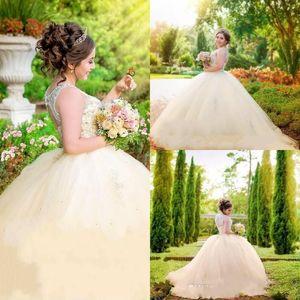 Урожай шампанское принцесса Quinceanera платья бальное платье с открытой горловиной майор из бисера на заказ платья выпускного вечера тюль многоуровневое дешево