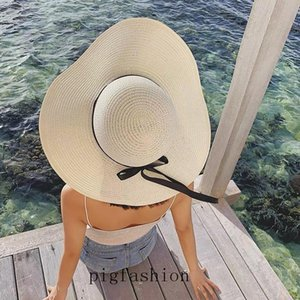 Vintage Women Hat Summer Beach Hat Straw Weave Sunhat Female New Folding Hand Made Wide Brim Cap Lady Elegant Travel Hats