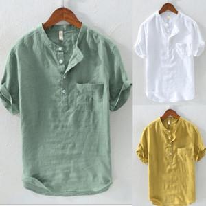 Yaz erkek Keten V Yaka Kısa Kollu Temel Tee T-shirt Rahat Bluz Tops