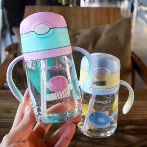 2020 New Baby bottle anti-fall plastic Bottle newborn baby wide caliber milk pot with straw handle newborn child drinking cup