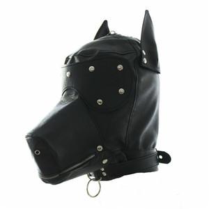 Filhote de cachorro Masquerade Dog Costume cabeça Máscara com Collar completa capa Partido Rosto Cosplay Mouth Gag Choker Zipped Muzzel Set 5872