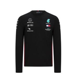F1 Formula One Racing Team T-shirt de mangas compridas terno 2020 Mercedes-Benz W11 racing suit pescoço casuais rodada de poliéster de secagem rápida
