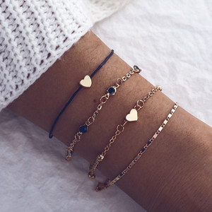 Vsco Bracelet 4-piece set Heart Core Metal Diamond Chain Friendship Anklet Bracelet