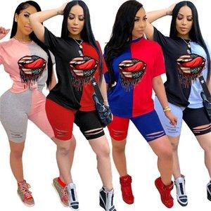 плюс размером S-3XL Женщины Sweatsuit случайные Tracksuit шорт 2 шт набора разорвал печать футболки + шорты тощих летней одежды тонкого бегун костюм 3337