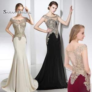 2020 Luxury Sheath Off Shoulder Long Evening Dresses Sexy Sheer Bodice Crystals Mermaid Party Dress Prom Gowns Floor Length