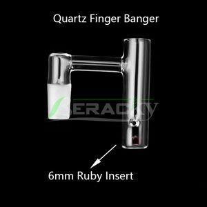 Beracky Nouveau Quartz Finger Banger avec 6 mm Rubis Perle 10mm 14mm 18mm Homme Femme 45 90 Nails pour le verre d'eau Bangs Dab Rigs