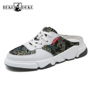 Personality Ethnic Totem Mixed Colors Men Casual Half Shoes Lace Up Slip On Round Toe Platform Sandals Summer Male Outdoor Wear