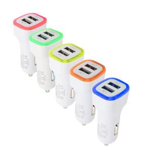 QiChen Dual Usb Car Charger Led Car Charger Vehicle Portable Power Adapter 5V 1A para iPhone para Android para teléfono móvil