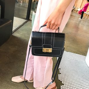 Free2019 حقيبة امرأة Ins Chin Lock براءات الاختراع والجلود واحدة الكتف سبان حزام حزمة مربع صغير