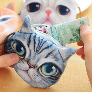 New Cat Porte-Monnaie Impression 3D Chats Dogs Grand animal face au changement de mode Meow Star People Cartoon Sac Zipper pour les enfants