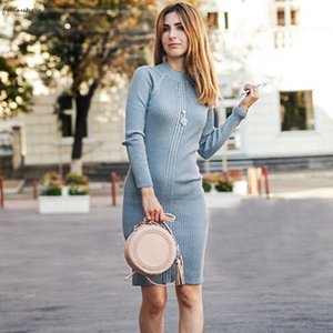 Knee Length Knitted Autumn Women Dress Lurex Glitter Thick Warm Sweater Dress O Neck Rib Female Pullover Dresses