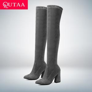 QUTAA 2020 Frauen über kniehohe Stiefel Mode Spiel Spitzschuh Winterschuhe Elegante Spiel Frauen Stiefel Größe 34-43 T200106
