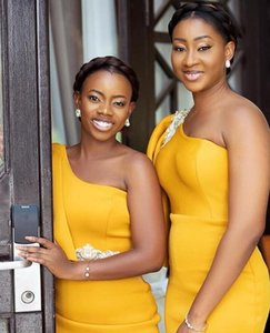African Evening Dresses One Shoulder Yellow Bridesmaid Dresses Cheap Floor Length Satin Mermaid Maid Of Honor Dress With Appliques