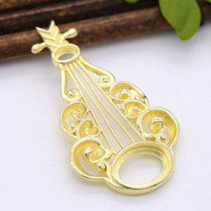 10pcs Brass Casted Filigrane Pipa Charms Ouvrir Retour 4x6mm 10x14mm ovale Bezel Cameo Bases Femmes Accessoires Bijoux mariage cheveux