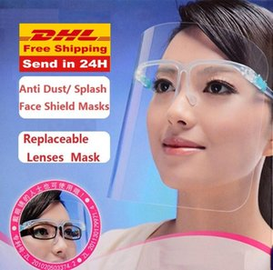 US STOCK, DHL Clear Protective Face Shield Mask Plastic Screen Full Face Protection Isolation Glass Anti-fog Oil Protective Mask Shield Hat