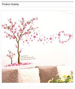 Adesivi murali 3D fiore di prugna rosa amore Adesivi murali PVC Soggiorno Camera da letto Decorazione di sfondo Adesivi murali Adesivi decorazioni per la casa