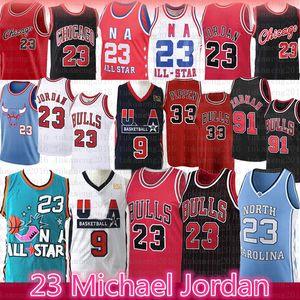 23 State University Basketball Jerseys 91 Dennis Rodman NCAA Carolina do Norte Michael 33 Scottie Pippen Touro MJ EUA equipe da juventude homens