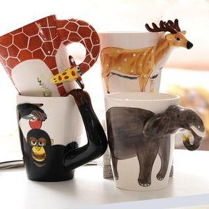 animaux en céramique tasse en céramique de café au lait Tasse de thé Forme animal créatif main cerf peint girafe vache Lapin Chien Camel Elephant Coupe LXL773-1