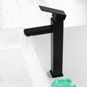 Basin Faucet Black Square Bathroom Sink Faucet Tap Stainless Steel Bathroom Deck Mounted Basin Mixer Tap 5years Wanarrty