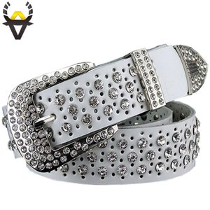Fashion Rhinestone Genuine leather belts for women Luxury Wide Pin buckle belt woman High quality Second layer Cowskin strap D18102905