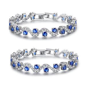 Popular Azul Cubic Zirconia Srones Pulseiras Femininas Pure 925 Pulseiras De Prata Esterlina Para As Mulheres Presente Da Festa de Casamento amantes '