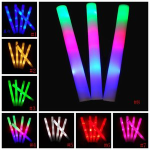 LED mousse bâton de lumière Glow Up Sticks Jouets de soirée de mariage coloré clignotant Matraques décoration Jouets LED Wands 8style GGA2919