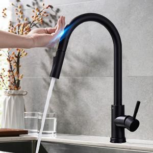 Pull-Out-Sensor Schwarz Küchenarmatur Sensitive Touch Control-Hahn-Mischer für Küche Touch-Sensor-Küche-Mischer-Hahn