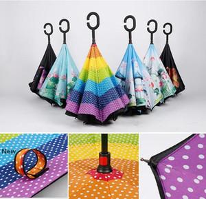 C-Manija doble capa inversa paraguas al aire libre Familia adentro hacia afuera soporte a prueba de viento del paraguas plegable paraguas invertido coche DDA47