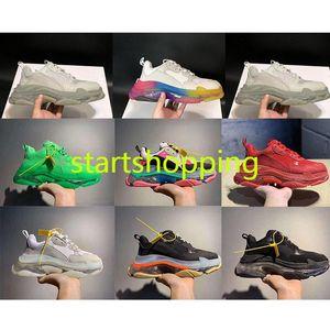 2020 Paris 17FW Green Crystal Bottom Triple-S Running Shoes Clear Sole Dad Shoes Platform shoes for Men Vintage Kanye Old Gra v2 350 boost