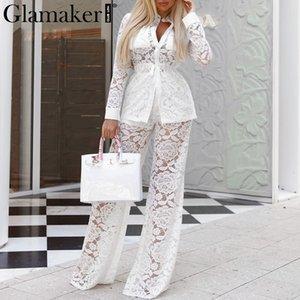 Glamaker Transparent Deux Pièces Costume En Dentelle Combinaison Femmes Blanc Chemise À Manches Longues Combinaison Printemps Large Jambe Pantalon Barboteuses Élégant Y190427