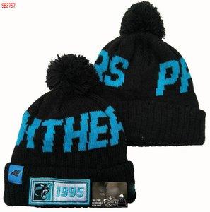 Top qualité Carolina tuque CAR tuques Sideline froid casquette Météo inversée Sport Cuffed Bonnet avec Pom Winer Skull Caps 08
