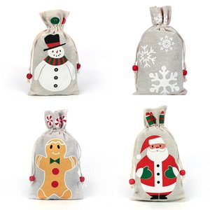 DHL 4 styles Christmas Drawstring Gifts Bag Pouch For Santa Clause Snowflake Snowman Xmas Storage Burlap Birthday Party Candy Bag Decor