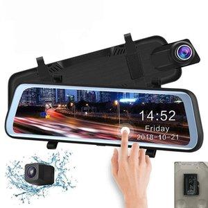 """10 """"Полностью сенсорный экран Стрим Медиа Автомобильный видеорегистратор Mirrorx с двумя объективами обратного резервного копирования 1080P 170 ° Full HD Dash Видеокамера"""