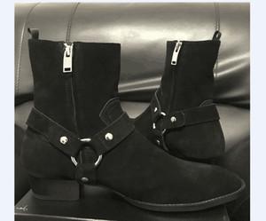 Suede cuoio genuino Harry Wyatt Boots fascino nuovo elenco cuneo SLP moda maschile classica caviglia cinturino nero in denim stivali Persional