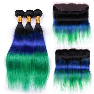 Silanda cabelo Ombre #T 1B / azul / verde 3 Tone Cabelo Liso Remy Human Weaving pacotes com 13x4 Lace frontal Encerramento frete grátis