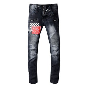 Pantalons Hommes Jeans Styliste Distressed Ripped Biker Jean Hommes Femmes Slim Fit Motard Denim Jeans Hip Hop Hommes Jeans Taille 29-42