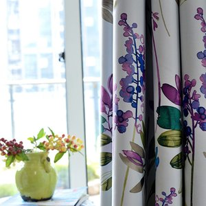 American Style Purple Floral Blackout Curtains For Living Room Bedroom Kitchen Cortinas Printed Pastoral Window Treatments