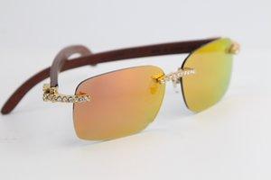 Продажа Rimless очки ручной работы Большие камни Вуд 8200759 солнцезащитные очки высокого качества способа Eyewear мужские и женские золотые украшения кадр C