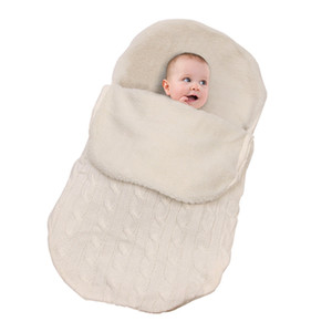 Baby Warm Swaddling Blanket Infant Stroller Sleepsack Footmuff Thick Baby Swaddle Wrap Knit Envelope Newborn Sleeping Bag DH0626 T03