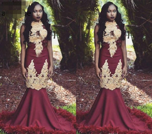 Sexy Burgundy Red Event Evening Dresses high neck South African Black Girls Mermaid Wear Party Gowns Plus Size Custom Made Prom Dress Elegan