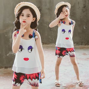 Fashion Summer Girls Clothes Set 2020 Children Chiffon Sling Vest+Pants Kids Outfits Teen Girl Clothing Sets 4 6 8 10 12 Years T200707