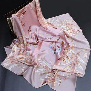 Manhã Flores Pára-Silk Bronzing Plain Crepe cetim Big Square Scarf Scarf Feminino de seda Lenço de seda