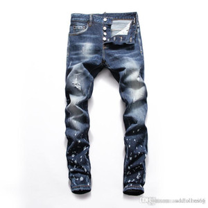 Fashion men's jeans men's slim casual pants elastic pants light blue suitable for loose cotton denim brand New Arrivals Famous Brand Jeans