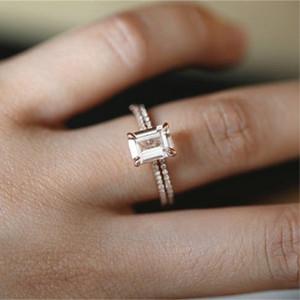 18 К Розовое Золото Кольца Набор Тонкий Принцесса Морганит Предложение Подарок Ясно Бриллиантовые Украшения День Рождения Обручальное Обручальное Кольцо Кольцо