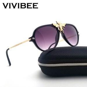 American Metal VIVIBEE Big Bee Sunglasses Aviação Feminino Único Vintage Pilot óculos de sol Mulheres Shades